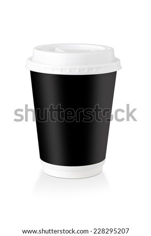 A Disposable Coffee Cup Whit Black Label  Isolated On White Background, Clipping Path Included.
