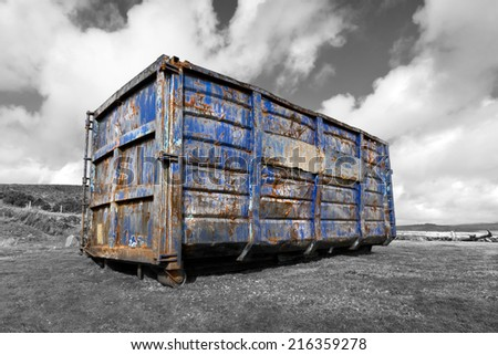 A disused waste container ruins the dartmoor landscape. Dartmoor, Devon. England. - stock photo