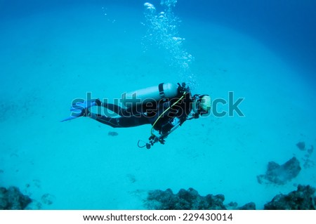 A diver underwater, Palawan.