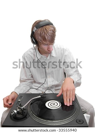 A DJ scratching his record. - stock photo