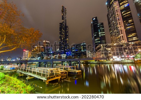 A Dock in Yarra River, Melbourne, Australia - stock photo