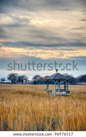 A Dock with an Egret on Top During Sunset - stock photo