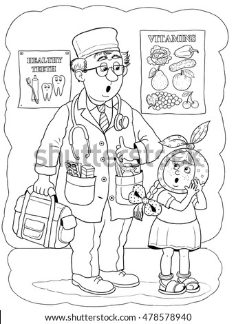 A Doctor And His Cute Patient Book About Professions Illustration For Children Coloring