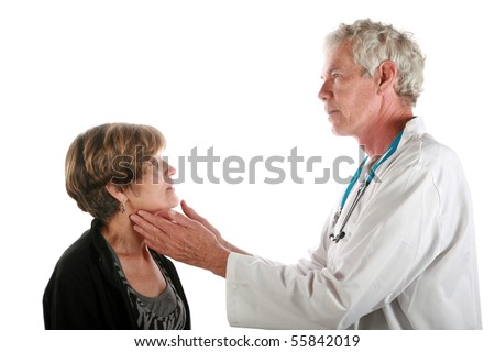 a doctor examines a patient          isolated on white - stock photo