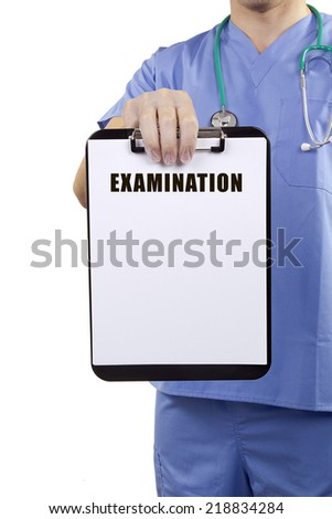 A doctor in blue uniform holding a clipboard with Medical examination. - stock photo