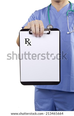 A doctor in blue uniform holding a clipboard with Medical prescriptions. - stock photo