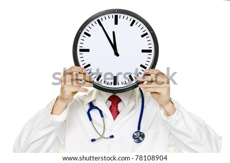 A doctor in trouble with Clock in front of the head. Working in Kranklenhaus. - stock photo