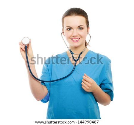 A doctor listening with a stethoscope, close-up, isolated on white background