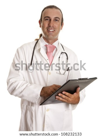 a doctor looking at his notes on patients
