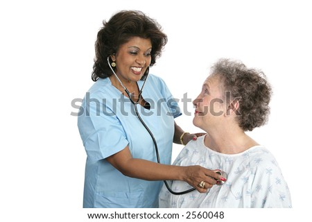 A doctor or nurse checking a patients vital signs.  Isolated on white. - stock photo
