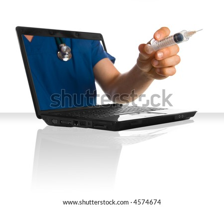 A doctor's hand holding a syringe through a laptop