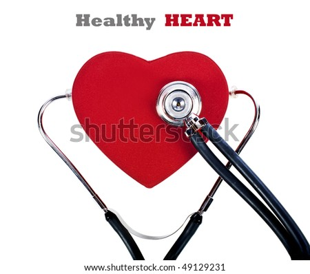 a Doctor's stethoscope listening to a Healthy heart - stock photo