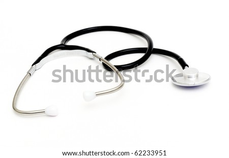 a Doctor's stethoscope on a white background with space for text