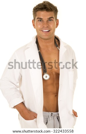 A Doctor with his lab coat and no shirt, with a smile on his lips.