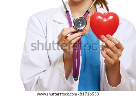 A doctor with stethoscope and red heart,  close-up image