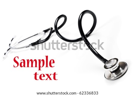 a Doctors stethoscope on a white background with space for text - stock photo