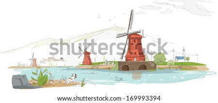 A dog staring towards a lighthouse and water. - stock photo
