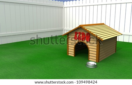 A doghouse with food bowl in a fenced in backyard - stock photo