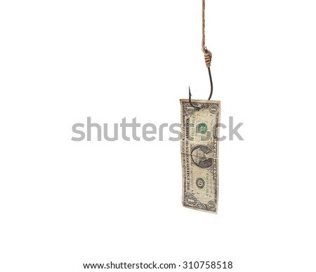 a dollar banknote with a fish hook - stock photo