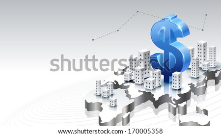 A dollar sign set against the backdrop of various buildings on a country.