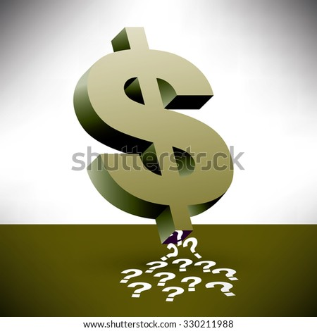A dollar sign sucking up question marks along with financial insecurity - stock photo
