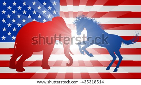 A donkey and elephant silhouettes fighting. Mascot animals of American democratic and republican parties, concept for the presidential election or politics in general - stock photo