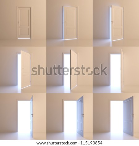A door is opened for nine stages. Nine different positions of one door - stock photo