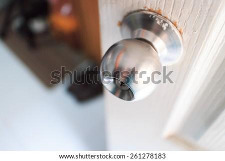 Door Knob On White Door Soft Stock Photo 261278183 - Shutterstock