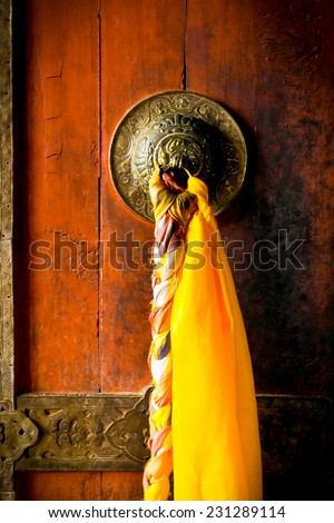 A door of a Monastery : a building occupied by a community of monks living under religious vows at Leh Ladakh, India.  - stock photo