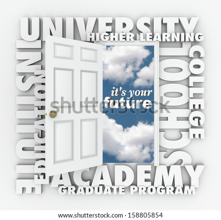 A door opening to the words It's Your Future surrounded by terms such as college, university, school, institute, education, academy, graduate program and higher learning - stock photo