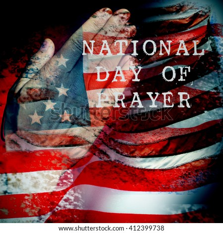 a double exposure of the flag of the United States and a the hands of a young caucasian man praying, and the text national day of prayer - stock photo