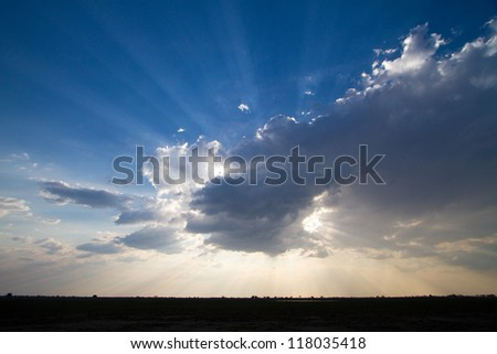 A dramatic cloudscape in Buffalo National Park, Caprivi, Namibia - stock photo