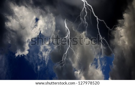 A dramatic thunderstorm sky view. - stock photo