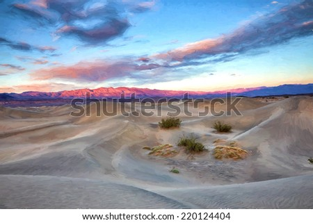 A dramatic view of the landscape of Death Valley California. Image is rendered as if it was an oil painting.