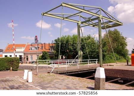 A draw bridge in the Netherlands - stock photo