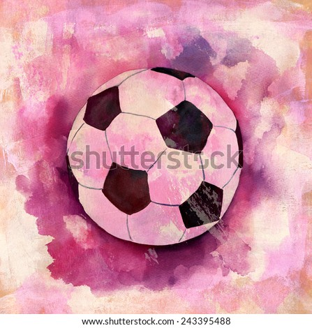 A drawing of a football (soccer) ball on a distressed artistic background - stock photo