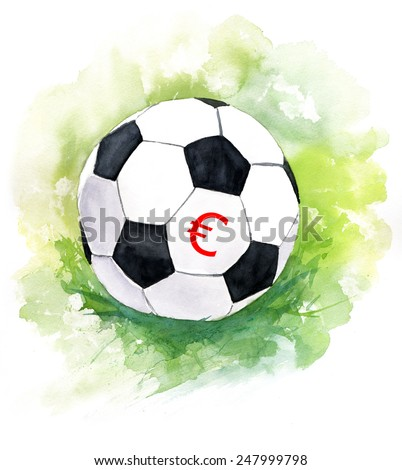 A drawing of a football (soccer) ball with a euro sign - stock photo