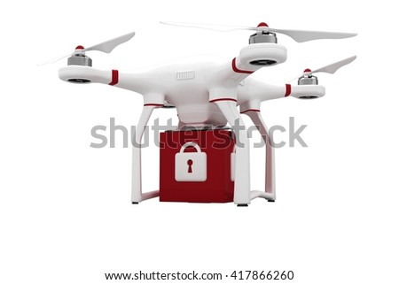 A drone bringing a red cube on white background - stock photo
