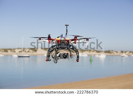 a drone for aerial photography prepared - stock photo
