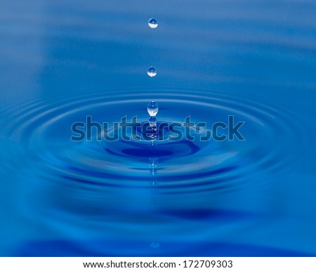 a drop of water falling in blue water