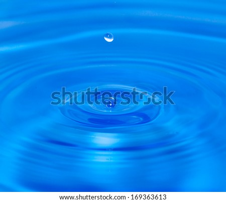 a drop of water falling into the water. macro