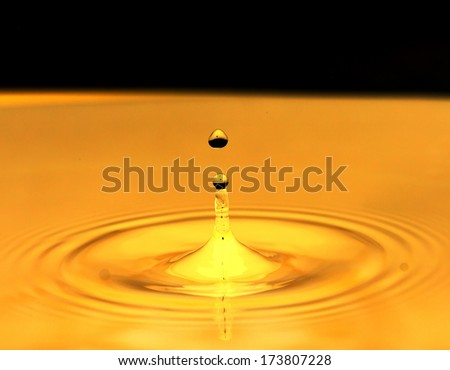 a drop of water falls in a golden water. macro
