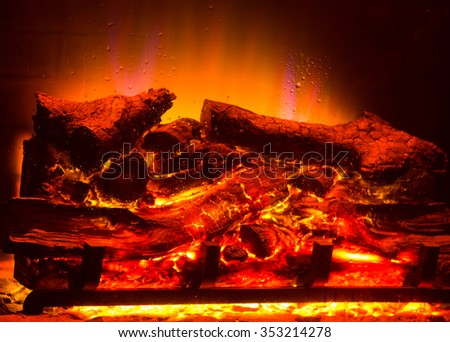 a drop of water from the steam from the burning fireplace - stock photo
