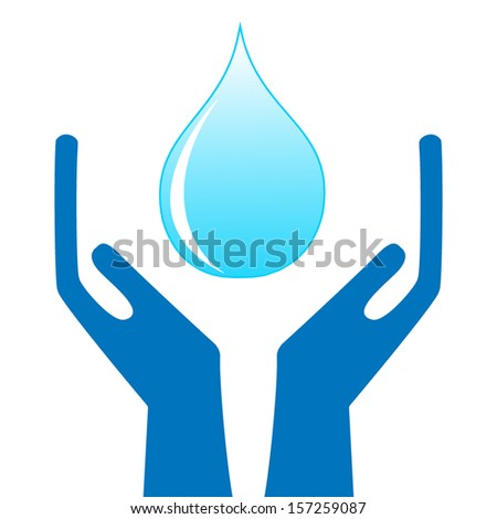 a drop of water in hands on a white background, illustration a raster