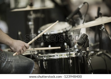 a drummer on the rock concert - stock photo