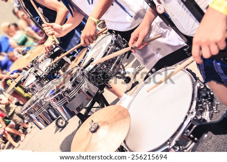 A drums band on the street. Scenes of Samba parade. - stock photo