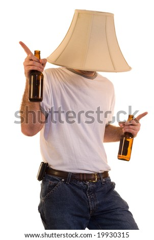 A drunk man dancing to some music - stock photo