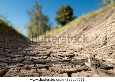 a dry creek bed in the hot summer - stock photo