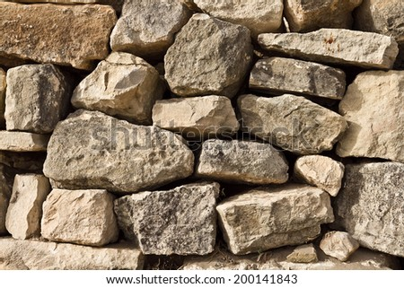 A dry stone wall made of random grey stone.