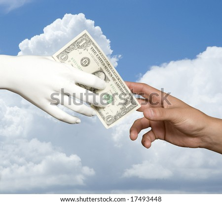 A dummy hand paying one dollar